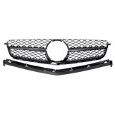 Front Grille Gloss Black / Sliver For Mercedes Benz C-Class C63 AMG  W204 Sedan 2008-2011