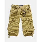 Heren outdoor multi-pocket cargoshorts Effen kleur Casual knielengte katoenen shorts