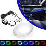 4/5 en 1 LED RGB Coche Decoración Atmósfera Luces bluetooth Control Interior Ambiental Luces de fibra óptica Lámpara