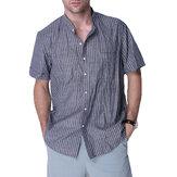 Męskie codzienne pasiaste koszule robocze Vintage w paski, puchowa bluzka w dół, dekolt w serek