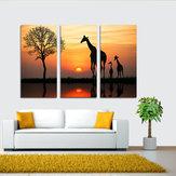 Original Miico pintado a mano tres combinaciones decorativas pinturas jirafa en la puesta de sol arte de la pared para la decoración del hogar