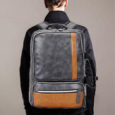 Men Large Capacity PU Leather Multifunctional Backpack Bag