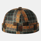 Brimless Skull Cap Multicolor Plaid Stitching Pattern Caps Soft Felt Customized Hats Brimless Hats