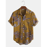 Cotton Peacock Feather Floral Print Casual Short Sleeve Shirts
