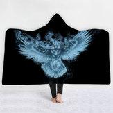 3D Dijital Baskı Baykuş Kapşonlu Battaniye Pelerin Magic Şapka Kalın Çift katmanlı Peluş