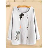 Camicie casual camicetta O-collo stampa gatto pulsante Cartoon
