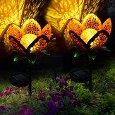 Solar Power Flower Light Outdoor Yard Warm White Stake Landscape Decor Lamp