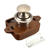 Push Button Drawer Cupboard Door Latch Lock Caravan Motorhome Cabinet Brown Knob