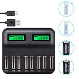 PALO Multi 8 Slots LCD Display Battery Charger Travel Portable Car Chargers Smart Charger For Nimh Nicd AA / AAA / SC / C / D / 9V Rechargeable Battery