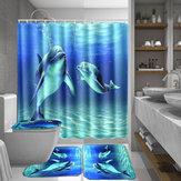 Ocean Dolphin Impermeable Cuarto de baño Cortina de ducha Alfombra antideslizante Juego de pedestal Alfombra Tapa Tapa del inodoro