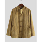 Mens Long Sleeve Casual Chinese Style Corduroy Coats