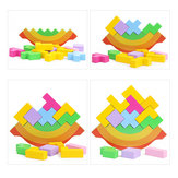 Rainbow Equilibrant Frame Baby Early Learning Montessori Supports pédagogiques Bois Blocs Jouets