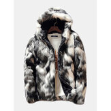 Mens Winter Faux Fur Thick Warm Hooded Casual Zipper Jacket