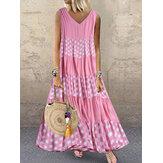 Vestido de verão de retalhos de bolinhas