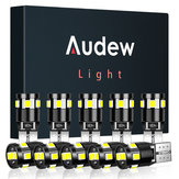 Audew T10 W5W Car 2835 SMD LED Side Marker Lights Parking Interior Bulbs Canbus Error Free 2.7W 4882K Xenon White 10Pcs