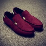 Men Suede Pure Color Casual Walking Flats