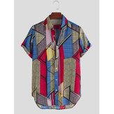 Mens Color Block Geometry Print Turn Down Collar Camisas casuais