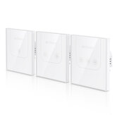 BlitzWolf® BW-SS3 EU / US 1/2/3 Channel 10A WIFI Touch Télécommande Murale Smart Home Switch Panneau en verre trempé Fonctionne avec Amazon Alexa Google Assistant