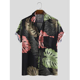 Herren Monstera Print Kurzarm Hawaiihemden