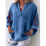 Women Loose Embroidered V-Neck Long Sleeve Pocket Blouse