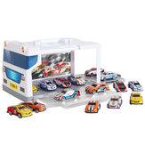 Estacionamiento para niños Coche Juego de juguetes Rompecabezas de aleación Carro deslizante Simulación Almacenamiento en garaje Caja Edificio modelo