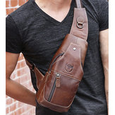 Bullcaptain Men Genuine Leather Wear Resisting Textured Business Casual Brown Black Chest Bag Shoulder Crossbody Bag