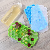 Godmorn 2 Packs of 74 Cubes Hexagon Silicone Ice Cube Mould Ice Mold with Lid for Baby Food And Bar