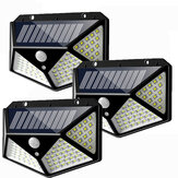 3pcs 100 LED Solar Powered PIR Motion Sensor Wall Light Outdoor Garden Lamp 3 Modes