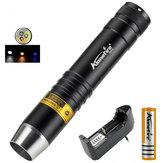 AloneFire SV370 XPG-2 200 Lümen Beyaz + Sarı + 365nm UV Işık Su Geçirmez LED El Feneri 18650 El Feneri