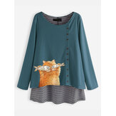 Blusa de rayas de dibujos animados Gato