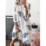 Women Floral Plant Print Long Sleeve Beach Holiday Loose Dress