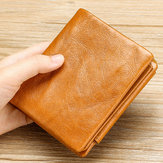 Men Genuine Leather Vintage Tri-fold Wallet