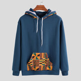 Mens Hooded African Printing Drawstring Casual Sweatshirt