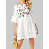 Flower Embroidery Flounce Sleeves Bohemian Mini Shirt