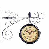 Zegar ścienny naścienny Dwustronny okrągły ogród Vintage Retro Home Decor