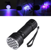 21 LEDs uv395 Portable Aluminum UV Ultra Violet Flashlight Mini Violet Torch Currency Detector Lamp Blacklight Light