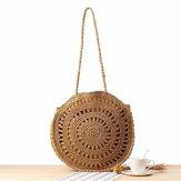 Damen gewebte Handtasche Runde Rattan Stroh Umhängetasche Summer Beach Geldbeutel