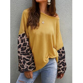 Casual Women Loose Lantern Sleeve Leopard Knit Sweaters