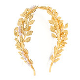 Retro Mujer Golden Leaves Pearl Headband Crown Boda Party Cabello Accesorios Decoraciones