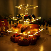 4 Layer Cake Cup Stand Tray Wedding Party Cupcake Display Holder LED String Light