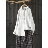 Blusa suelta informal de algodón sólido