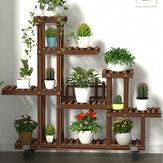 多層木製植物フラワースタンド植物棚本棚立っている花鉢植え風車植物ホルダーディスプレイ屋外装飾+ホイール付き植栽ツールキット