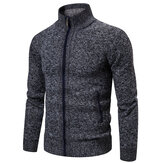 Mens Fashion Zipper Knitting Stehkragen Freizeitjacke