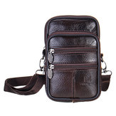 7inch Men Leather Waist Bag Multifunctional Crossbody Messenger Bag Phone Holder Pouch
