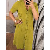 Women Pure Color Cotton Button Down V-Neck Shirt Dress