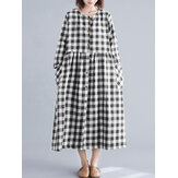 Women Plaid Print Button Pockets Casual Loose Dress
