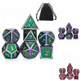 7 Pçs / set Rainbow Edge Conjunto de Dados de Metal com Bolsa Jogos de Tabuleiro de Dragões Jogo de Mesa Bar Jogo de Festa Dados Jogo de Hobbies Hobbies Brinquedo de presente