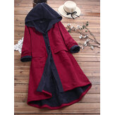 Original              Women Casual Patch Hooded Thick Fleece Corduroy Long Coats