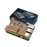Złoty Armor Obudowa ze stopu aluminium Metalowa obudowa ochronna z podwójnym wentylatorem tylko dla Raspberry Pi 4 Model B