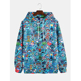 Fashion Graffiti Printing Hooded Long Sleeve Sweatshirt